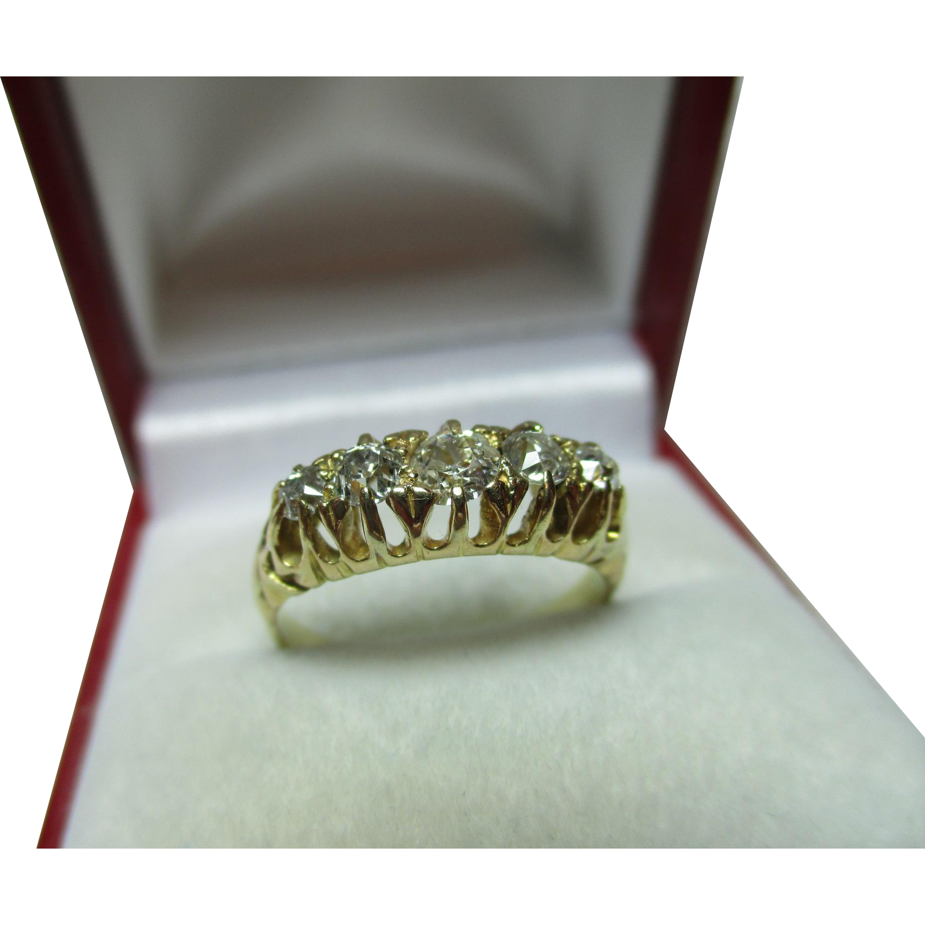 Attractive Antique 18ct Solid Gold 5-Stone Diamond Gemstone Ring{0.5Ct Weight}