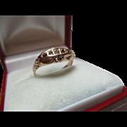 Antique 9ct Rose Gold 5-Stone Garnet Gemstone Ring.