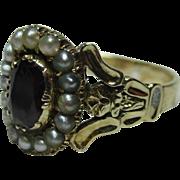 Supreme Georgian 18ct Gold Garnet + Split Seed-Pearl Gemstone Cluster Ring.