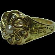 Ornate Victorian{Birmingham 1871} 18ct Solid Gold Diamond + Split Seed-Pearl Gemstone Memorial Cluster Ring