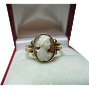 Decorative Antique{Chester 1915} 9ct Solid Rose Gold 'Oval Shaped' Cameo Gemstone Ring.