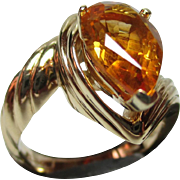 Superb 14ct Solid Gold 'Tear Drop' Shaped Citrine Gemstone Twist Ring{7.2 grams}
