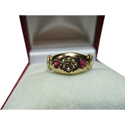 Exquisite Victorian{Birmingham 1895} 9ct Gold Ruby + Split Seed-Pearl Gemstone Ring.