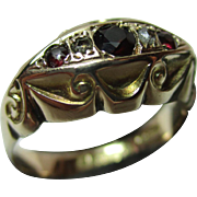 Decorative Antique{Chester 1913} 9ct Solid Gold 5-Stone Diamond + Garnet Gemstone Ring