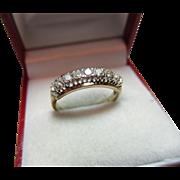 Attractive Vintage 9ct Solid Gold 9-Stone Diamond Gemstone 'Half Eternity' Ring{0.6Ct Weight}