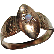 Decorative Victorian{Chester Hallmark} 9ct Rose Gold Opal Solitaire Gemstone Ring.