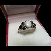 Ornate Georgian 15ct Solid Gold Opal + Dark Garnet Gemstone Ring