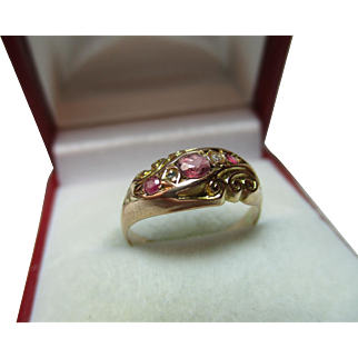 Decorative Antique{Chester 1916} 9ct Gold 5-Stone Diamond + Ruby Gemstone Ring