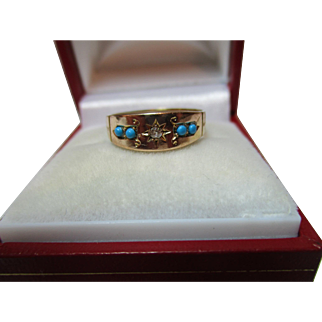 Pretty Antique 15ct Solid Gold 5-Stone Diamond + Turquoise Gemstone Ring