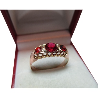 Decorative{Birmingham 1920} 9ct Solid Rose Gold Diamond + Garnet Gemstone Ring