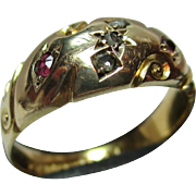 Attractive Edwardian{Chester 1903} 18ct Solid Gold Diamond + Ruby Gemstone Ring
