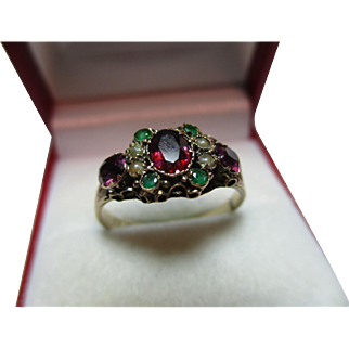 Exquisite Victorian{Birmingham 1877} 9ct Gold Emerald, Garnet + Split Seed-Pearl Gemstone 'Suffragette' Ring
