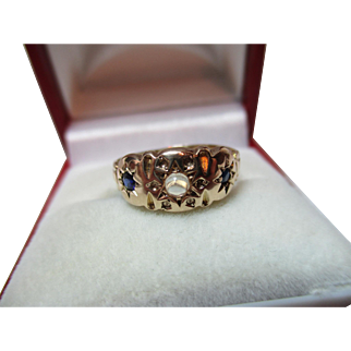 Attractive Antique{Birmingham 1911} 9ct Gold 3-Stone Sapphire + Moonstone Gemstone Ring