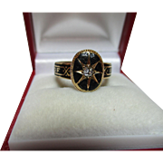 Superb{Pre-1882} Victorian 18ct Solid Gold Diamond Gemstone + Black Enamel Memorial Ring.