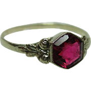 Decorative Georgian 15ct Gold 'Hexagonal Shaped' Pink Tourmaline Gemstone Ring
