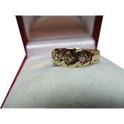 Exquisite Victorian{Chester 1881} 18ct Solid Gold 3-Stone Diamond Gemstone Ring{0.2Ct Weight}