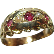 Decorative Victorian{Birmingham 1874} 18ct Solid Gold 5-Stone Ruby + Split Seed-Pearl Gemstone Ring