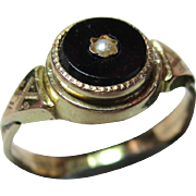 Pretty Victorian 15ct Gold Black Onyx + Split Seed-Pearl Gemstone Ring
