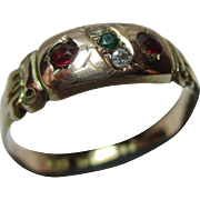 Attractive Antique{Chester 1912} 9ct Rose Gold Diamond, Emerald + Ruby Gemstone 'Suffragette' Ring.