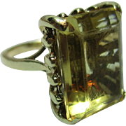 Decorative Antique 18ct Solid Gold 'Block Shaped' Citrine Gemstone Ring