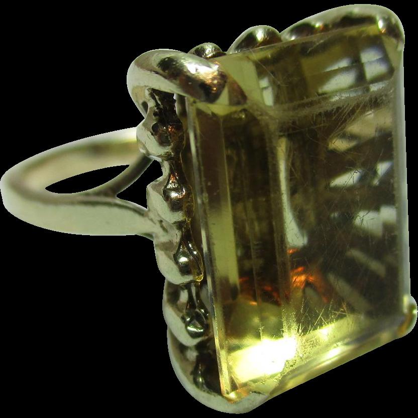 Decorative Antique 18ct Solid Gold 'Block Shaped' Citrine Gemstone Ring