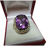 Decorative Antique 9ct Gold Amethyst + Split Seed-Pearl Gemstone Ring{7.0 grams}