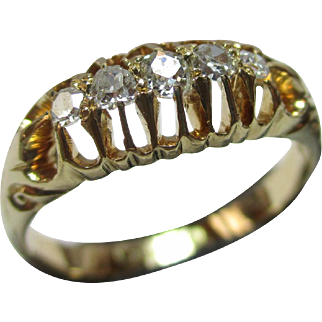 Superb Antique{London 1914} 18ct Solid Gold 5-Stone Diamond Gemstone Ring{0.35Ct Weight}