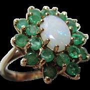 Vibrant Vintage{London 1977} 9ct Gold Emerald + Opal Gemstone Cluster Ring