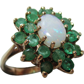 SALE Vibrant Vintage{London 1977} 9ct Gold Emerald + Opal Gemstone Cluster Ring