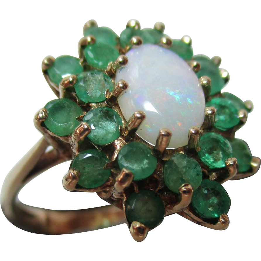 Vibrant Vintage London 1977 9ct Gold Emerald Opal