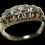 Superb Antique{Birmingham 1914} 18ct Solid Gold 5-Stone Diamond Gemstone Ring{0.5Ct Weight}