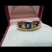 Superb Antique 18ct Solid Gold 5-Stone Diamond + Sapphire Gemstone Ring{0.35Ct Diamond Weight}