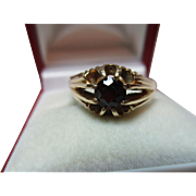 Attractive Vintage{Sheffield 1988} 9ct Solid Gold Garnet Gemstone Solitaire Ring{4.0 grams}