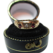 Ornate Victorian{Birmingham 1900} 18ct Solid Gold 3-Stone Diamond + Ruby Gemstone Ring