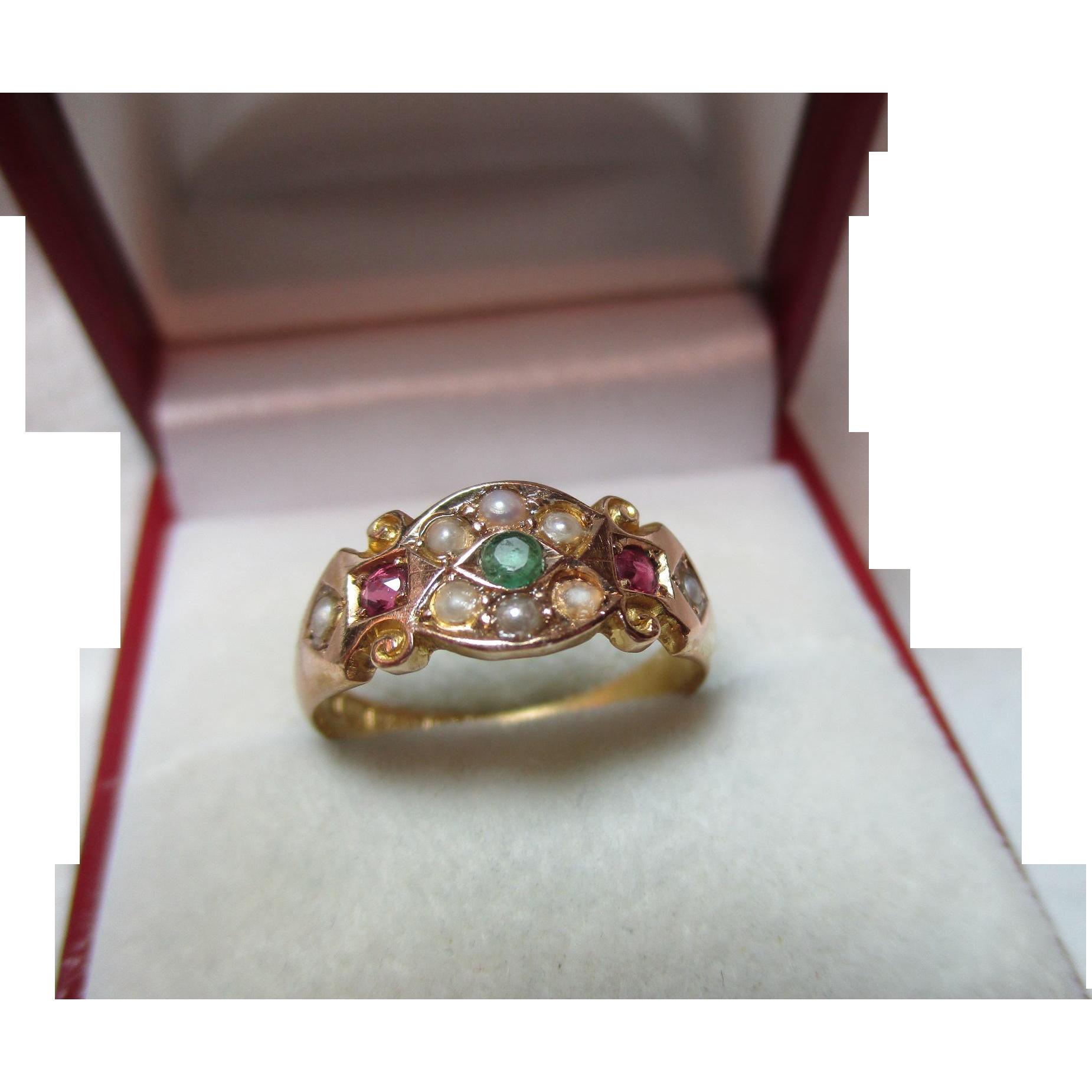 Superb victorian birmingham 1893 15ct gold emerald ruby for Sell jewelry birmingham al