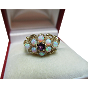 Attractive Vintage 9ct Gold 9-Stone Opal + Amethyst Gemstone Cluster Ring