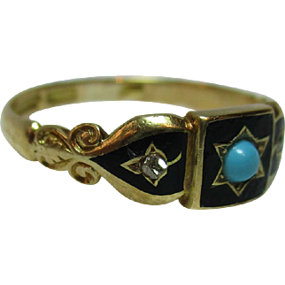 Exquisite Antique 18ct Solid Gold Black Enamel, Diamond + Turquoise Gemstone Ring