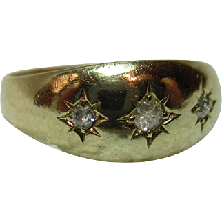 Decorative Early-Edwardian{London 1901} 18ct Solid Gold 3-Stone Diamond Gemstone Ring{0.1Ct Weight}