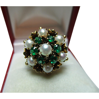 Exquisite Antique 18ct Solid Gold Emerald + Full Pearl Gemstone 'Cascade' Ring{6.9 Grams}