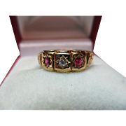 Decorative Victorian{Chester 1899} 18ct Gold Diamond + Ruby Gemstone Ring