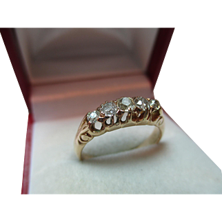 Pretty Antique 18ct Solid Gold 5-Stone Diamond Gemstone Ring{0.5Ct Weight}