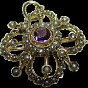 Superb Antique 9ct Solid Gold Amethyst + Split Seed-Pearl Gemstone Bar-Brooch/Pendant{4.8 Grams}