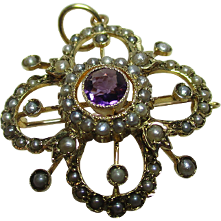 Superb Antique 9ct Solid Gold Amethyst + Split Seed-Pearl Gemstone Bar-Brooch/Pendant{4.8 Grams}