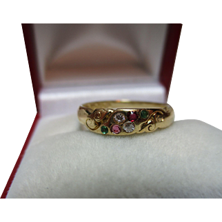 Pretty Victorian{Birmingham 1894} 18ct Solid Gold Diamond, Ruby + Emerald Gemstone 'Suffragette' Ring