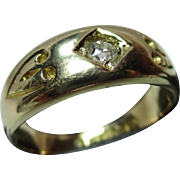 Decorative Victorian{Chester 1892} 18ct Gold Diamond Solitaire Gemstone Ring{0.1Ct Weight}