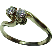 Pretty Vintage{London 1985} 9ct Solid Gold Diamond Gemstone Crossover Ring{0.15ct Weight}