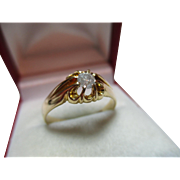 Attractive Antique 18ct Solid Gold Diamond Solitaire Gemstone Ring{0.18Ct Weight}