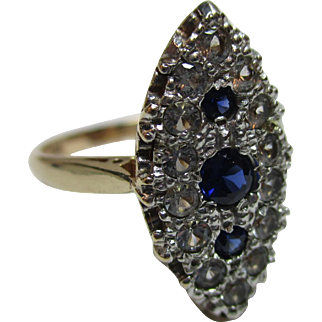 Pretty Vintage 9ct Solid Gold 'Marquise Shaped' Sapphire + Cubic Zirconia Gemstone Ring