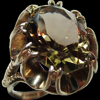 Attractive Vintage{Birmingham 1971} 9ct Solid Gold 'Smoky Quartz' Gemstone Ring{4.3 Grams}