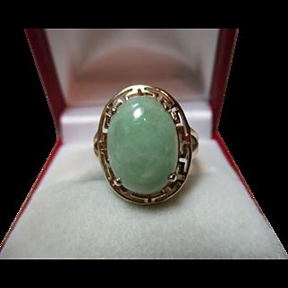 Decorative Antique 14ct Gold Oval Shaped 'Jadeite' Gemstone Ring